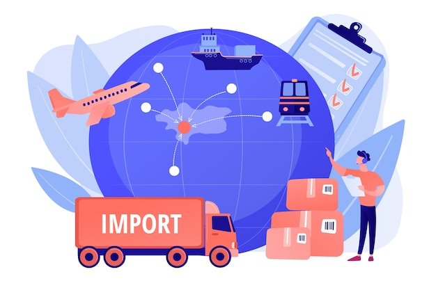 Established international trade routes. selling goods overseas. export control, export controlled materials, export licensing services concept. pinkish coral bluevector isolated illustration