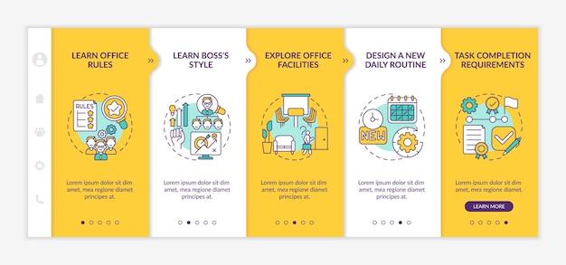 Establishing communication onboarding  template. motivate and achieve effectiveness. responsive mobile website. webpage walkthrough step screens. rgb color concept