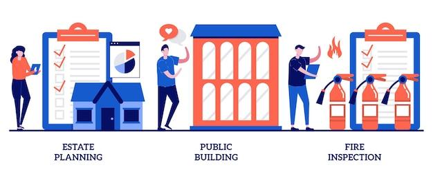 부동산 계획, 공공 건물, 화재 검사. 건물 유지 보수, 현대적인 디자인 세트