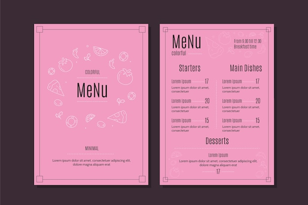 Концепция меню estaurant для шаблона