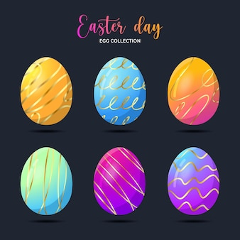 Ester day egg collection isolated on dark blue