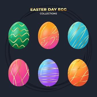 ダークブルーで分離されたエステルデーの卵コレクション