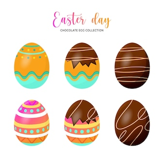 Ester day egg collection isolated on white