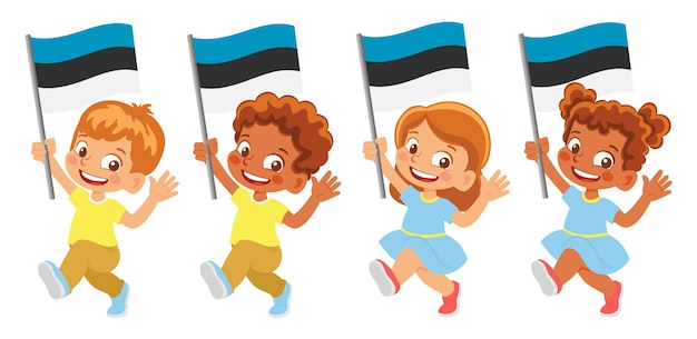 Флаг эстонии в руке. дети держат флаг. государственный флаг эстонии
