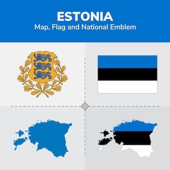 Estonia map, flag and national emblem