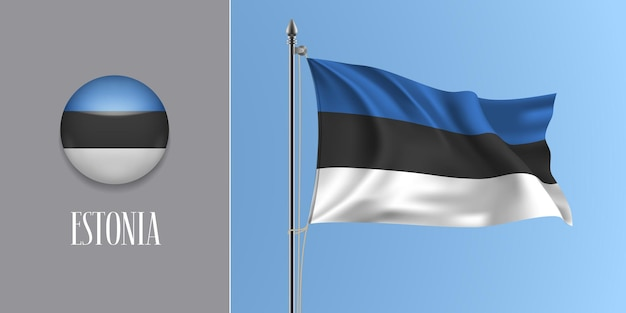 Estonia waving flag on flagpole and round icon vector illustration. realistic 3d mockup with design of estonian flag and circle button