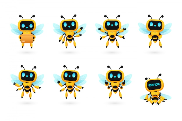 Et of cute bee robot ai character in many pose
