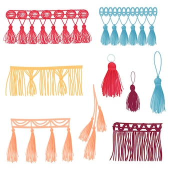 Et of images of decorative tassels of different colors and shapes.  illustration on white background.
