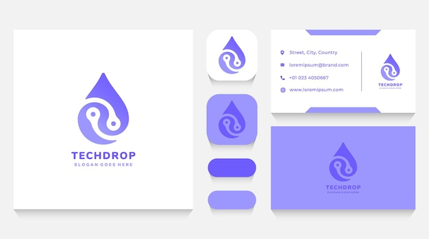 Etechnology drop logo template and business card Premium Vector