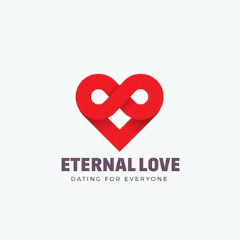 Eternal love, emblem or logo template. infinity symbol and heart icon mixture. creative concept silhouette.