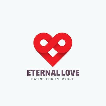 永遠の愛、エンブレムやロゴのテンプレート。無限大記号とハートアイコンの混合物。創造的なコンセプトのシルエット。