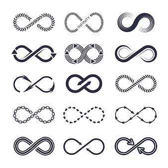 Eternity symbols. vector monochrome icon collection of infinity logotypes