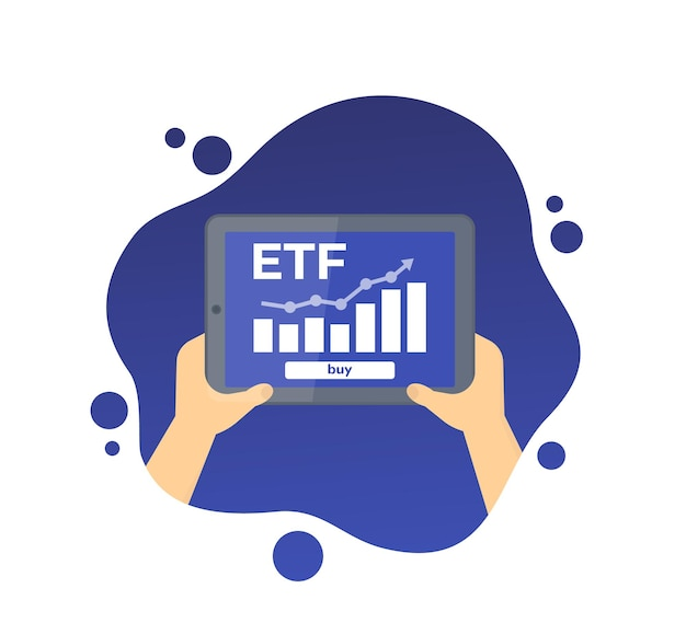 Etf icon, exchange traded fund, tablet with financial data