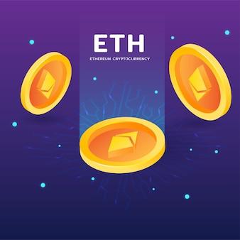 Криптовалюта eth ethereum с сетевым вектором на темном фоне