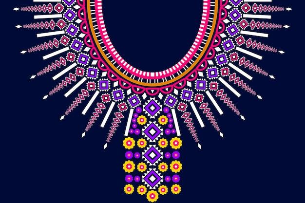 Этнический геометрический восточный и традиционный узор вышивки племенного ожерелья для украшения модной женской одежды. упаковка одежды, сияющий фон стиля традиции