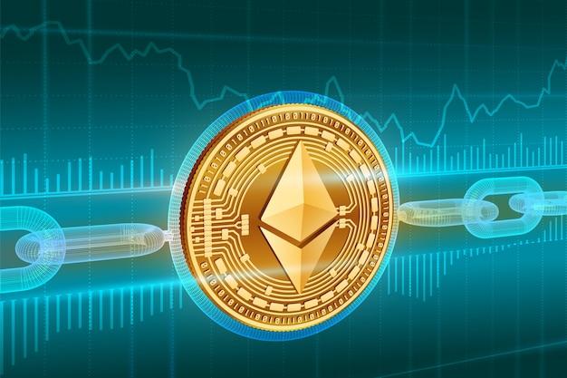 Криптовалюта. блок цепи. ethereum. 3d изометрические физическая золотая монета эфириума с каркасной цепью. концепция блокчейна. редактируемый шаблон криптовалюты. векторная иллюстрация.