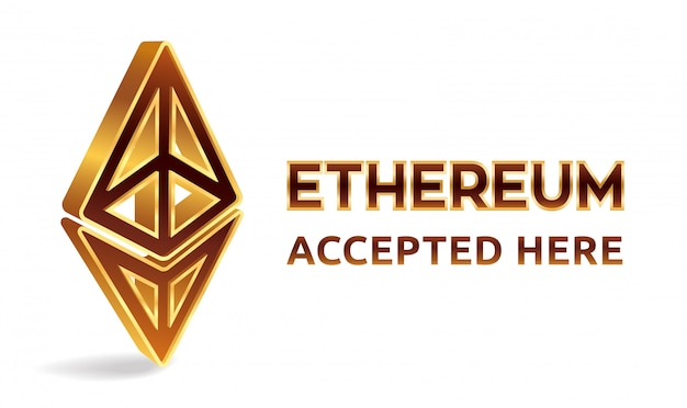 Ethereum accepted here, banner. cryptocurrency.