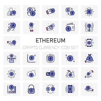 Ethereum coin crypto currency icons set