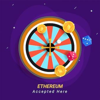 紫色の背景にethereumのコイン。 cryptocurrenciesの概念はカジノで受け入れられる