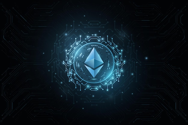 Ethereum cryptocurrency. cover for internet business. digital coin for website vector blockchain