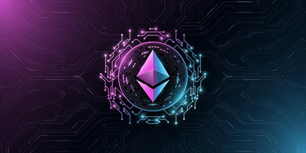 Ethereum cryptocurrency. digital coin for presentation. computer circuit board. vector blockchain