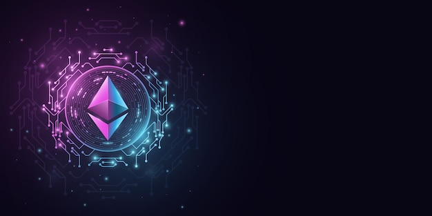 Ethereum cryptocurrency. digital coin for website presentation. vector blockchain for graphic design