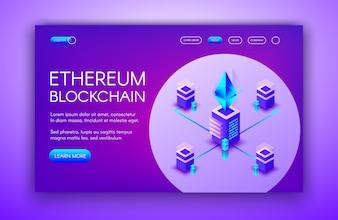 Ethereum cryptocurrency illustration of blockchain servers on Ether mining farm.