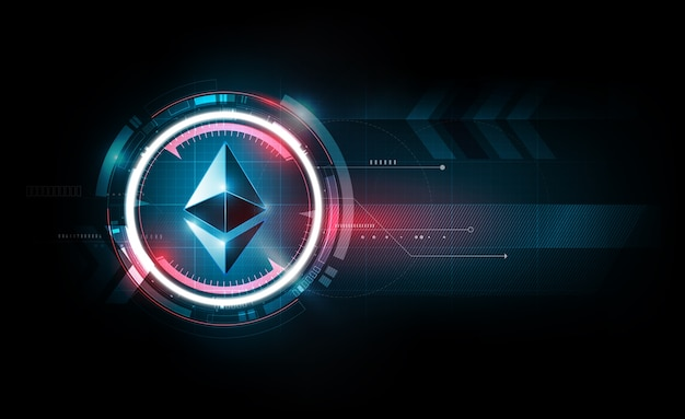 Ethereum digital currency, futuristic technology background