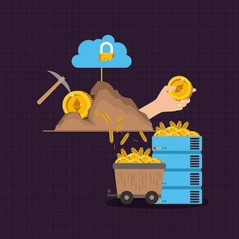 Ethereum mining set icons
