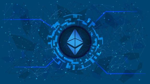 이더리움 토큰 기호, eth 동전 아이콘, 파란색 배경에 암호 화폐 테마가 있는 디지털 원. 웹 사이트 또는 배너를 위한 미래형 스타일의 디지털 금. 공간을 복사합니다. 벡터 eps10입니다.
