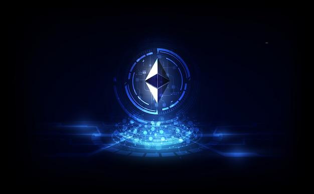 Ethereumデジタル通貨、未来的なデジタルマネー、ゴールドテクノロジーの世界的ネットワークコンセプト。