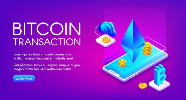 Биткойн транзакция иллюстрация криптовалютной торговли и обмена на смартфоне ethereum