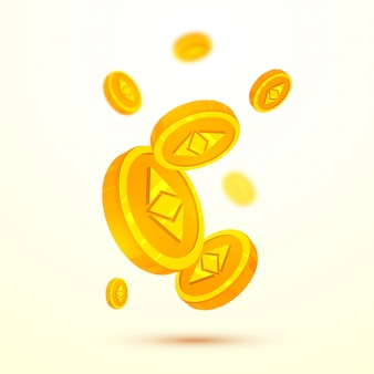 Etherium cryptocurrencies coins in golden color on blur background.