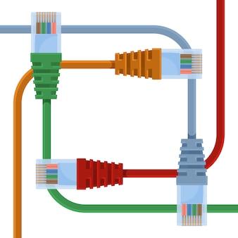 長いワイヤーとプラスチックノズルを備えたさまざまな色のイーサネットケーブル。