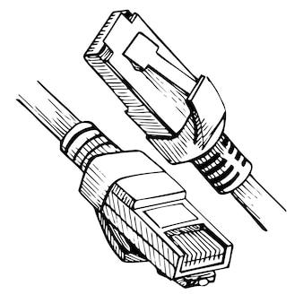イーサネットコネクタrj45。スケッチスタイルのインターネットケーブル。ベクトルイラスト