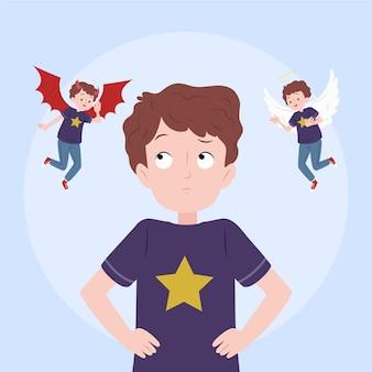Ragazzo di dilemma etico con angelo e demone