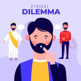 선과 악 사이에서 선택하는 남자와 윤리적 딜레마 그림