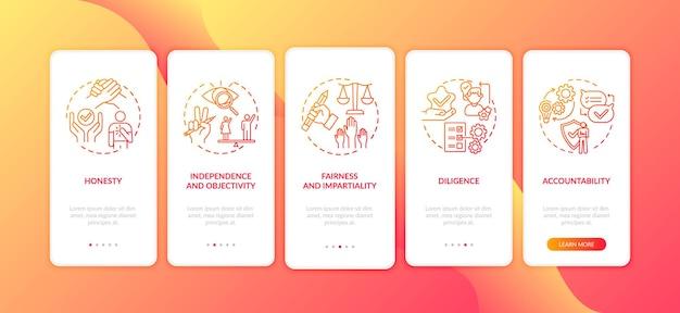 개념이있는 모바일 앱 페이지 화면을 온 보딩하는 윤리적 저널리즘 원칙. 정직, 근면, 공정성 5 단계 그래픽 지침 안내. 컬러 삽화가있는 ui 템플릿