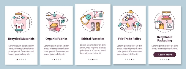 Ethical production onboarding mobile app page screen with concepts. recycled material. fair trade walkthrough  steps graphic instructions. ui  template with rgb color illustrations