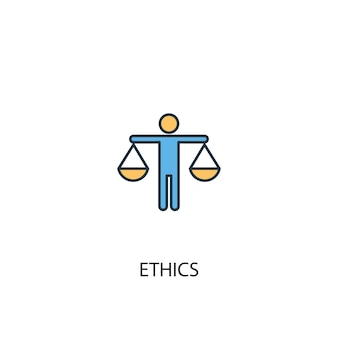 Ethics concept 2 colored line icon. simple yellow and blue element illustration. ethics concept outline symbol design