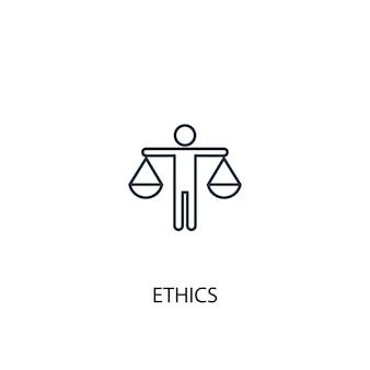 윤리 개념 라인 아이콘입니다. 간단한 요소 그림입니다. 윤리 개념 개요 기호 디자인입니다. 웹 및 모바일 ui/ux에 사용할 수 있습니다.