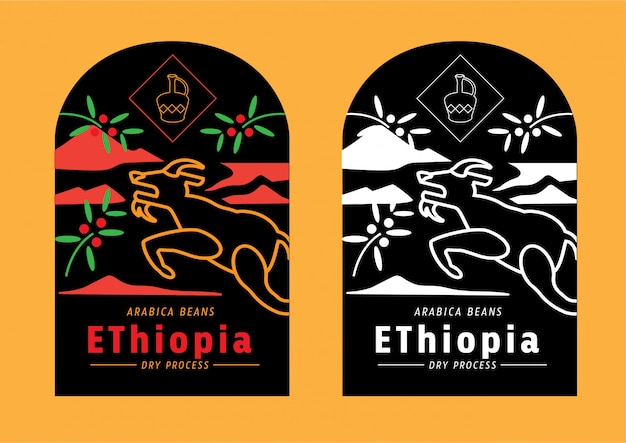 Ethiopia coffee beans label with goat jumping