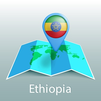 Ethiopia flag world map in pin with name of country on gray background