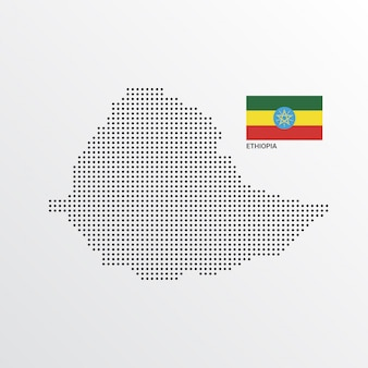 Ethiopia map design with flag and light background vector