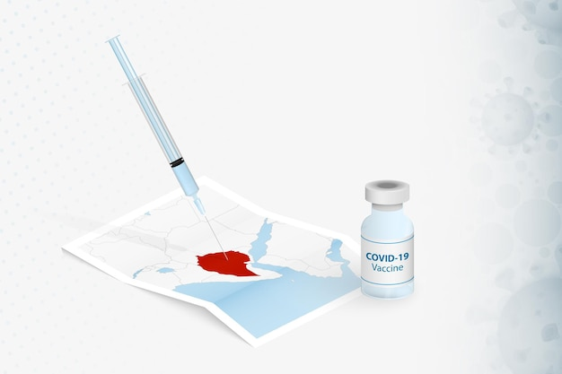 エチオピアのワクチン接種、エチオピアの地図でのcovid-19ワクチンの注射。