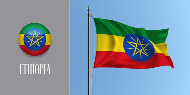 Ethiopia waving flag on flagpole and round icon vector illustration. realistic 3d mockup with design of ethiopian flag and circle button