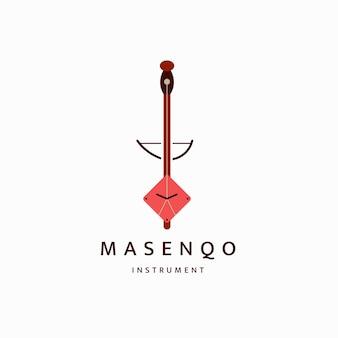 Эфиопские традиционные музыкальные инструменты логотип значок дизайн шаблона плоский вектор