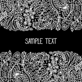 Ethnic abstract floral vector seamless pattern frame. can be used for banner, card, poster, invitation, label, menu, page decoration or web design