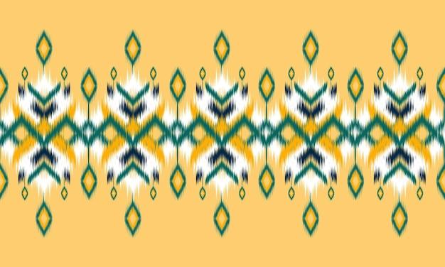 エスニック抽象絣アート。部族のシームレスなパターン。