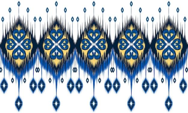 Этническое абстрактное искусство икат. бесшовный узор в племени.